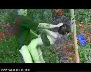 Slim girl raped in forest
